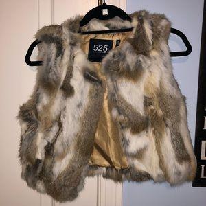 525 Brand Tan, White & Brown Fur Vest
